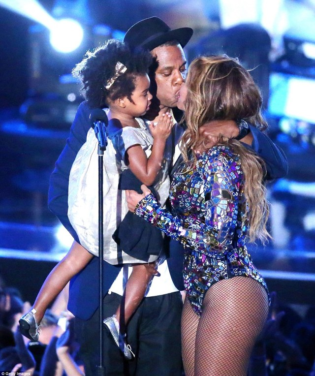 We are family! The threesome are soon to become five... with Beyonce no doubt prepared to bring her tots to showbiz and music events much like Blue, pictured here at the MTV Video Music Awards in 2014