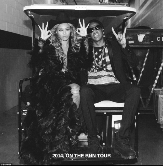 On the run... The couple have often collaborated and toured together in 2014 on the On The Run tour