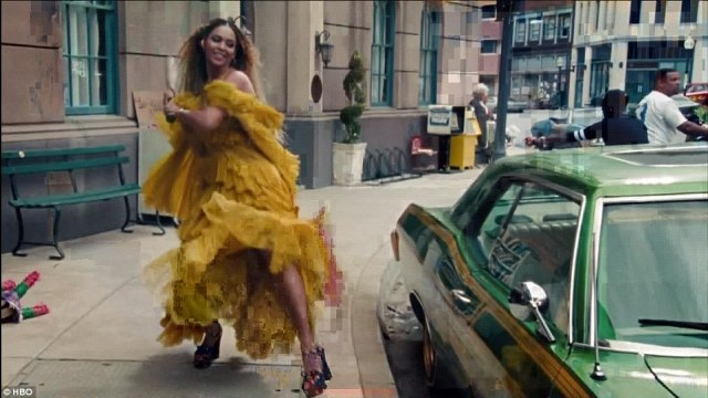 I ain't sorry!In the track entitled Sorry, Beyoncé sang: 'Looking at my watch he should have been home/ I regret the day I put that ring on/ He always got them f***ing excuses/ He only want me when I'm not on there / He better call Becky with the good hair' (pictured in the video for Lemonade track Hold Up)