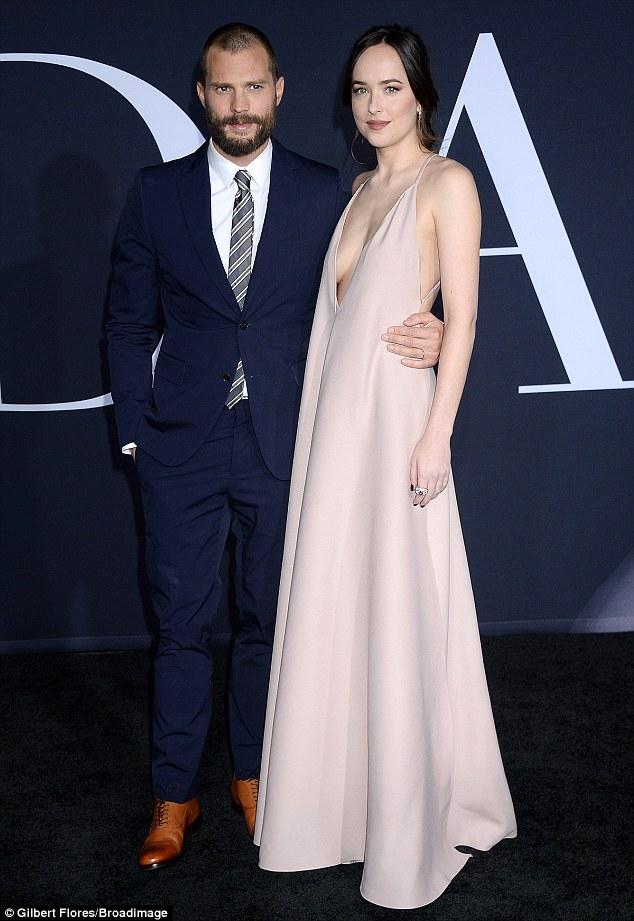 The film, which will be released on February 10, is the second installment in the franchise (seen here with Jamie Dornan)