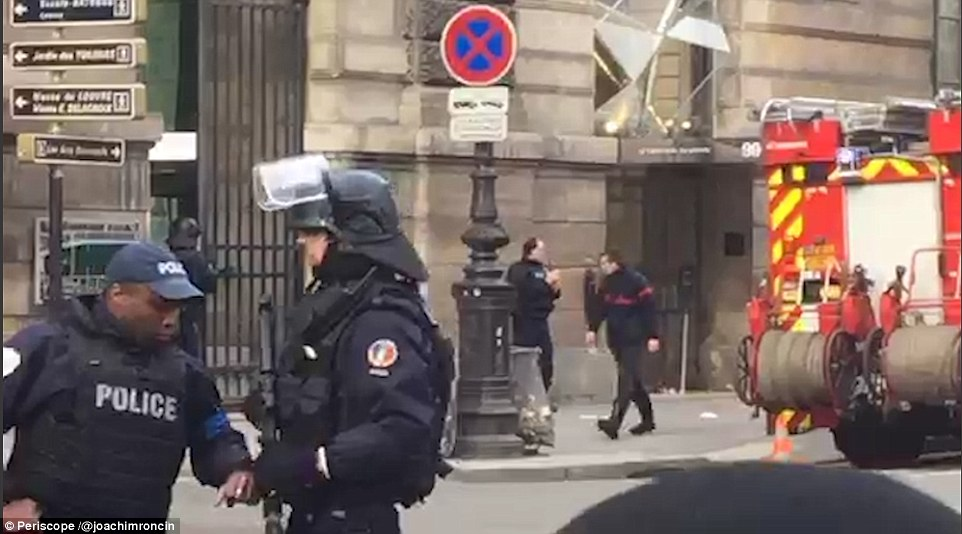 A large security operation was launched following the attack, and roads around the Louvre were closed