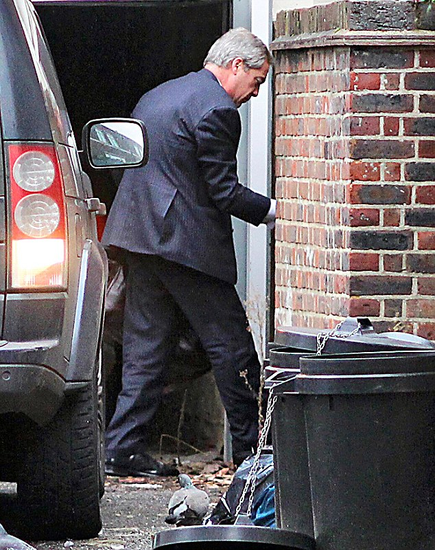Mr Farage, 52, was pictured going into the property at 10.40am on Thursday morning