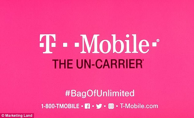 However, T-Mobile (pictured) was the only firm that decided to cover all of their bases and included a hashtag, URL and all of its social media handles