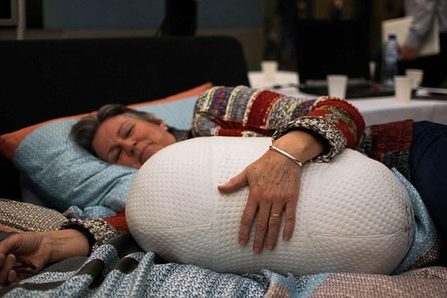 The peanut-shaped pillow measures your sleep and simulates breathing, based on your sleep pattern, to ensure a deep and restful night's sleep