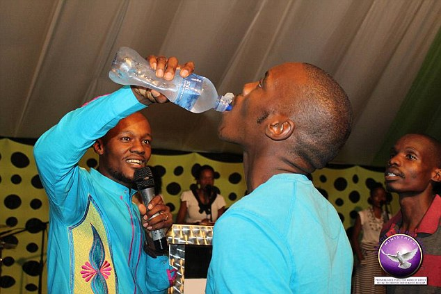 Pictures have emerged online of Monyeki pouring the poisoned water down his congregants' throats during the service