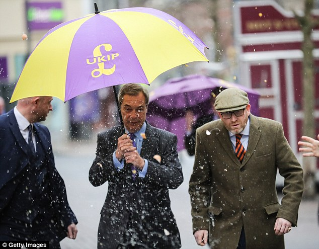 Close: The alleged close friendship between Miss Ferrari and Mr Farage did not begin until several years after she began working for UKIP, the source claims. Mr Farage had an egg thrown at him this week while out campaigning with UKIP leader Paul Nuttall