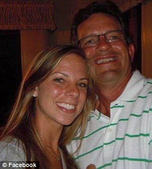 Dead: Casey Speckman (left, with father Jon) died when she crashed a 2015 Tesla Model S into a tree in November. Its lithium batteries exploded, tearing the car apart