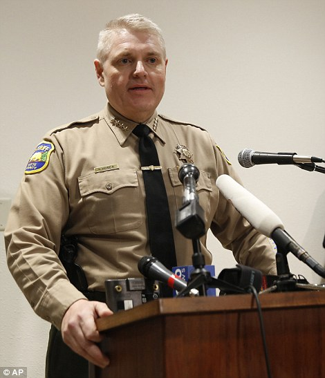 Butte County Sheriff Kory Honea speaks during a news conference about the situation at the Oroville Dam on Sunday, Feb. 12