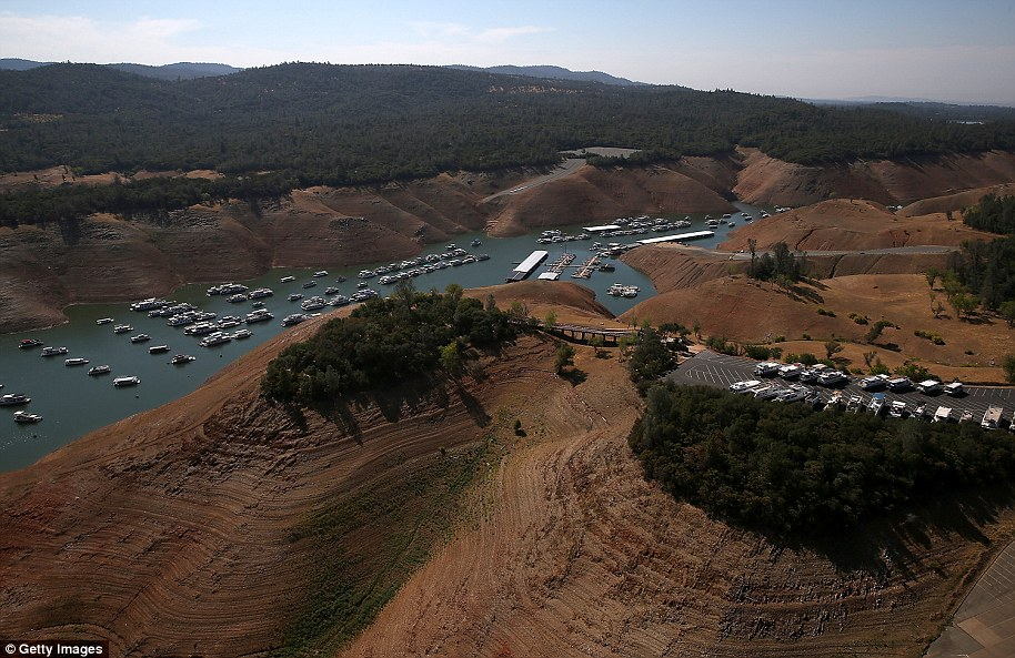 Low water levels are visible in the Bidwell Marina at Lake Oroville on August 19, 2014