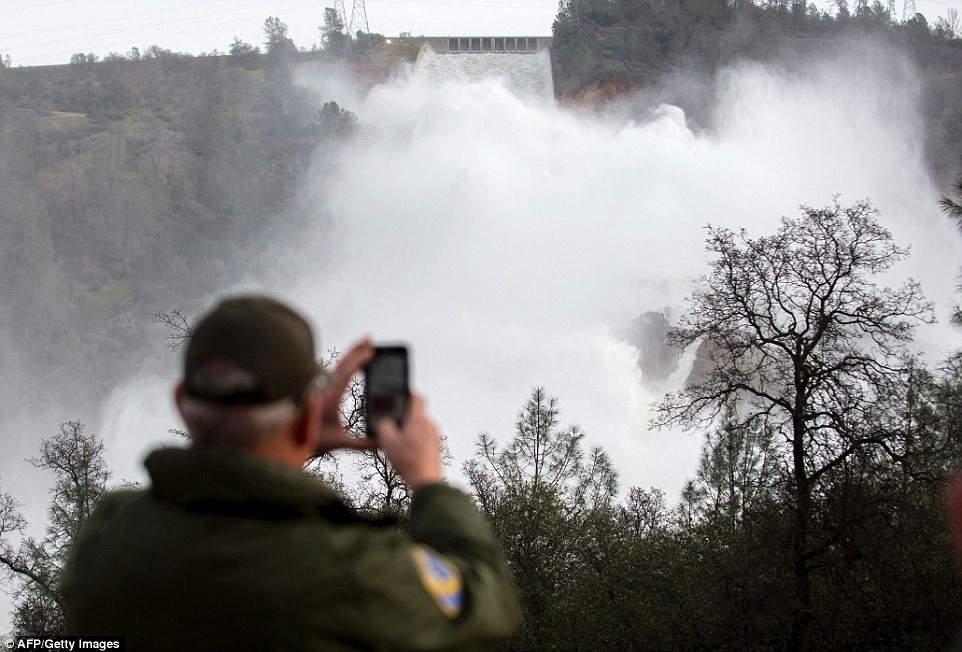 Looming danger: A California Department of Fish and Wildlife employee observes the rushing water as it drains down the spillway at the Oroville Dam after it nearly partially collapsed on Sunday