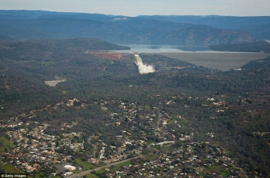 Evacuation: Almost 200,000 people were ordered to leave the towns downhill of the Oroville Dam on Sunday as heavy rainfall left it at risk of bursting but the order was lifted on Tuesday afternoon