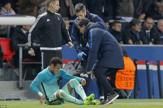 There was another worry for Barcelona moments later as Brazilian striker Neymar went down and needed to be treated