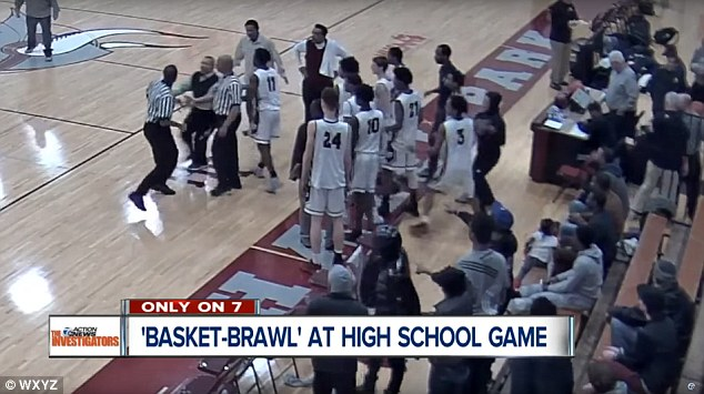Image result for What started the wild brawl between a basketball team and referees?