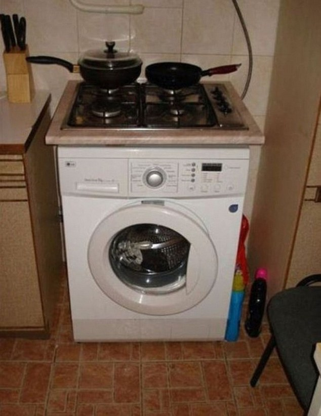You've heard of up-cycling and so has the creative person who managed to combine a cooker and a washing machine in one