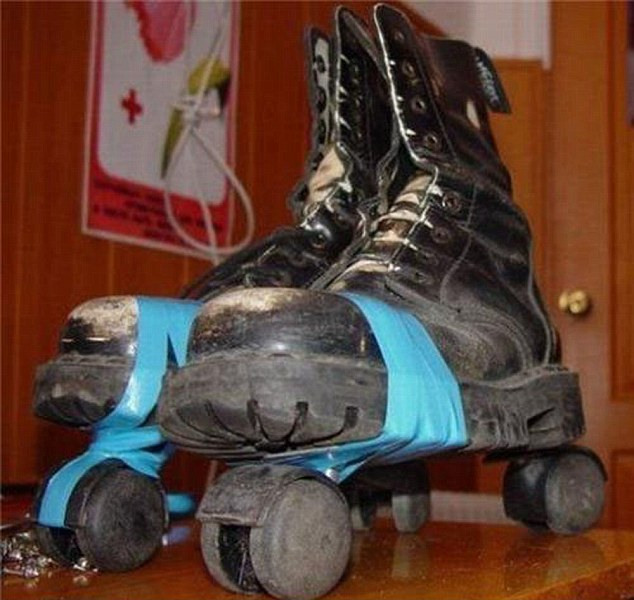 Can't find roller skates to fit? Just tape some wheels on to your boots