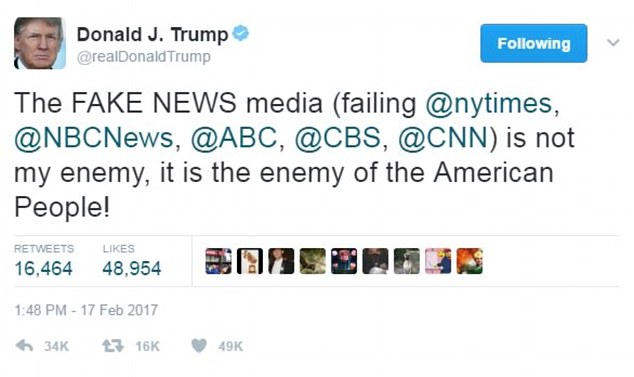 Image result for trump fake news tweet