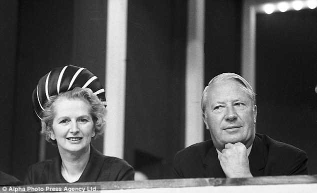Margaret Thatcher and Edward Heath at the Conservative Party Conference in Blackpool