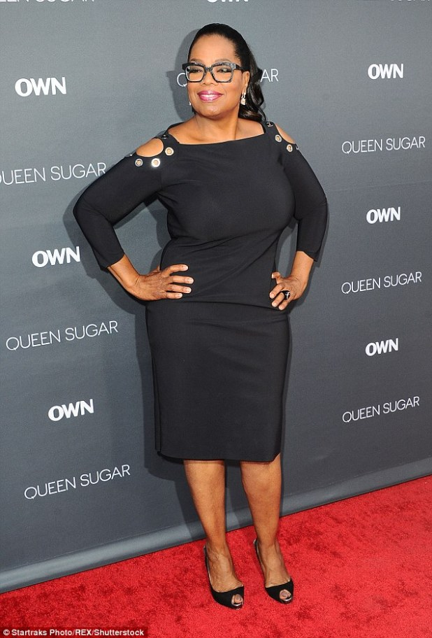 What a woman: Oprah also revealed that she's finally found a sense of freedom having lost over three stone in weight... and kept it off (pictured last August)