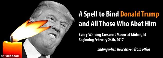 Raccogliendo le merci: Tra gli oggetti necessari per completare questo incantesimo sono una foto poco lusinghiera di Trump, una piccola candela arancione (disegni su post volantino sulla pagina ufficiale della manifestazione)