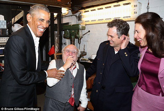 (L-R) Barak Obama, Danny DeVito, Mark Ruffalo and Jessica Hecht chat backstage. In The Price, Ruffalo's character feels that life has passed him by while he took care of his now-dead father