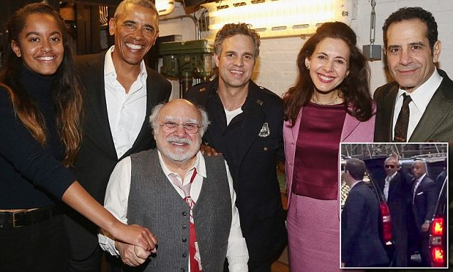 Obama and Malia spotted at star-studded Broadway show