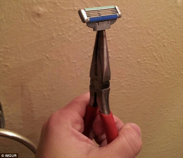 The man who uploaded this photo wrote of his device: 'My razor broke about five days ago. Still too lazy to go get a new one'