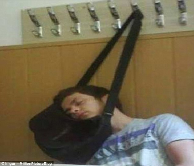 A bag becomes a glorious head cradle - and a nap is this resourceful man's victory prize
