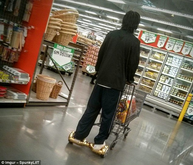Trolleys have wheels so why can't we? A question this man clearly threw into the universe before coming up with his hoverboard arrangement
