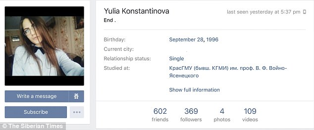 Yulia left a note saying 'End' on her social page before committing suicide