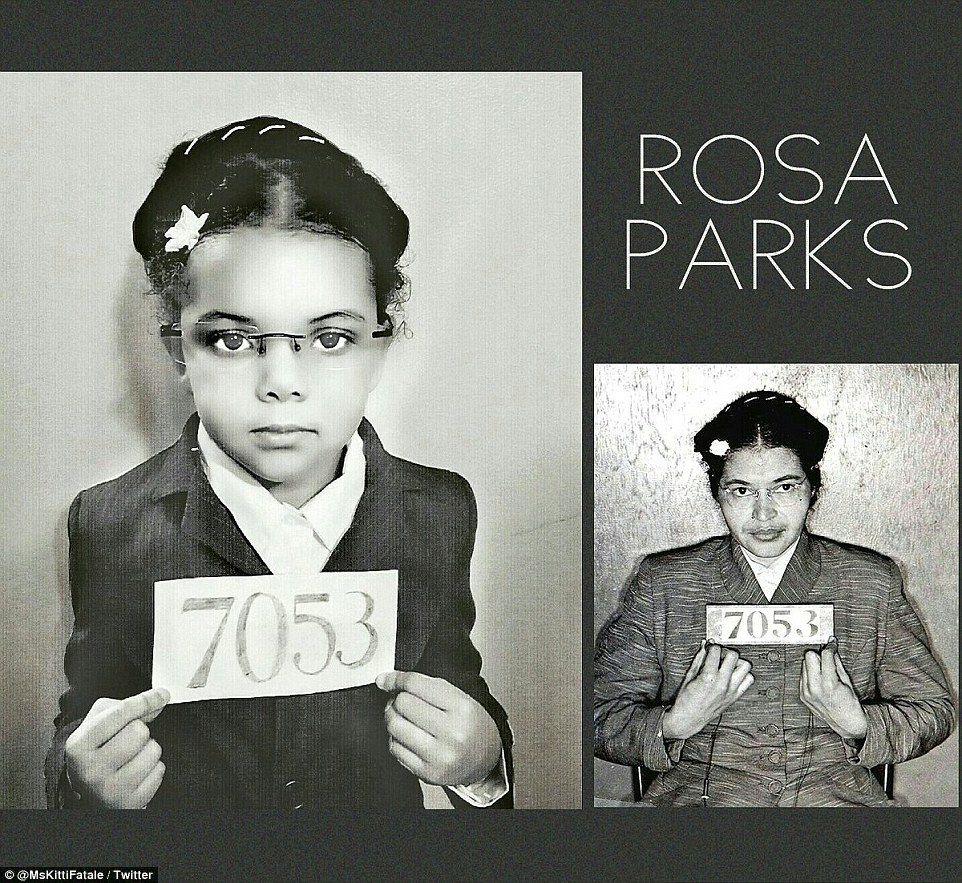 Day 10: Lola poses like civil rights activist Rosa Parks in her famous mugshot after she was ordered to the back of the bus