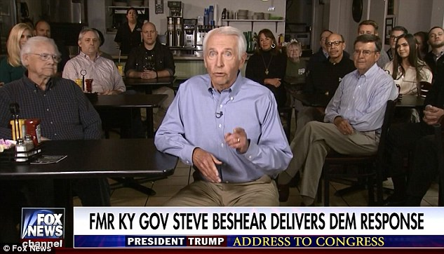 Steve Beshear, who left office in 2015, chose to deliver his speech in a Lexington, Kentucky diner
