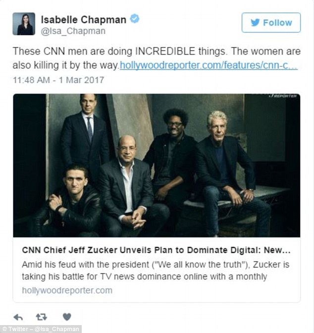 Isabelle Chapman, a social producer at CNN, tweeted: 'These CNN men are doing INCREDIBLE things. The women are also killing it by the way'