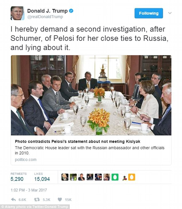 President Trump demanded an 'investigation' of House minority leader Nancy Pelosi after a photo emerged showing her seated at a table with the Russian ambassador to the U.S.