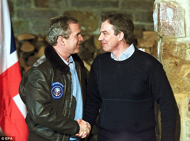 Notorious: Tony Blair and President George Bush at his Camp David retreat in 2001