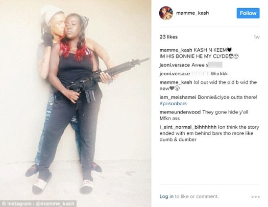 'Bonnie and Clyde':Coleman put this photo on her Instagram account. The pair were arrested on Sunday for the daylight murder of a 19-year-old in Dallas, which occurred last Thursday