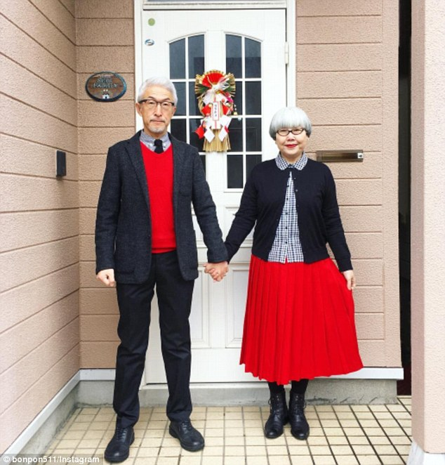 One Japanese couple who have been married for 37 years dress identically each day (pictured)