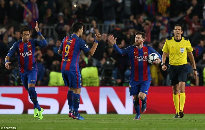 Neymar, Suarez and Messi exchange high fives after the Argentine's penalty put Barcelona 3-0 up on the night