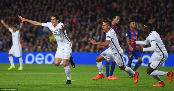 Cavani celebrates after scoring a goal for the French side in the 62nd minute of the game on Wednesday night