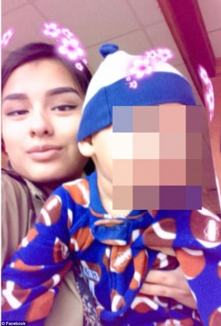 Mom-of-two: Delgado had a one-year-old son (pictured) with Garcia-Ramires, who at one time was her stepfather. The toddler was unharmed