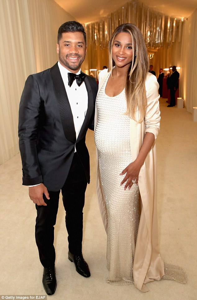 Crash: Heavily pregnant singer Ciara was involved in a car accident in LA on Friday. She is pictured here with her husband Russell Wilson last month