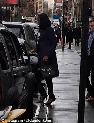 Michelle exits restaurant