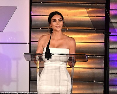 Equal rights advocate: Kim Kardashian presented an award at theFamily Equality Council's Impact Awards gala in LA on Saturday night