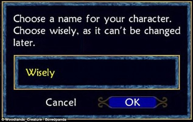 It's very difficult to argue with this gamer's logic in choosing a character name