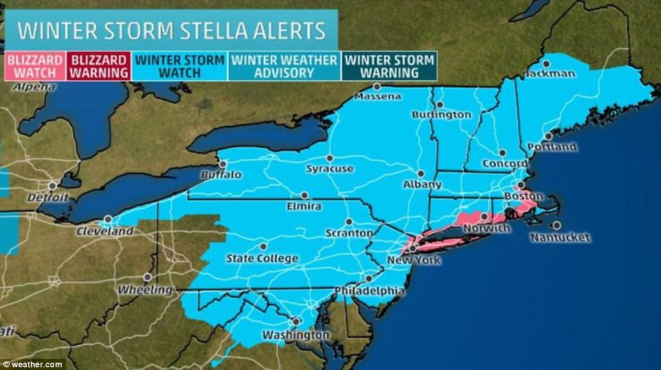 Winter Storm Stella is expected to sweep the New York region starting Monday with possible blizzard conditions.About 50 million people found themselves under blizzard or winter storm warnings on Sunday across the Northeast