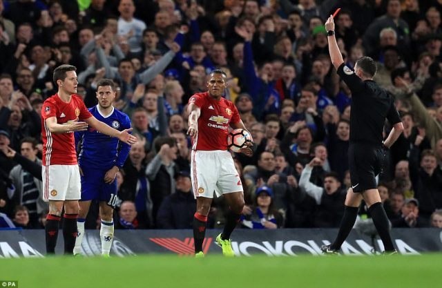 Spain international Ander Herrera was sent off by referee Michael Oliver after picking up two bookings during the first half