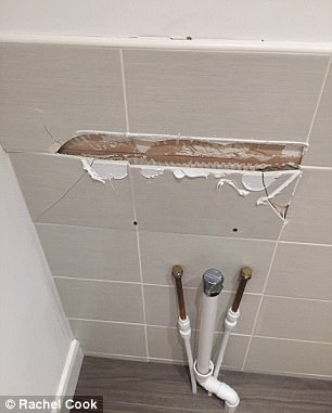 Ms Cook said: 'Whenever we run a tap, flush a toilet or turn on a shower on we are expecting water to come through the ceiling somewhere'