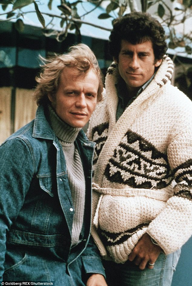 Back in the day: The actors pictured on the show's set in 1975, with David Soul (left) as Kenneth 'Hutch' Hutchinson and Paul Michael Glaser as David Michael Starsky