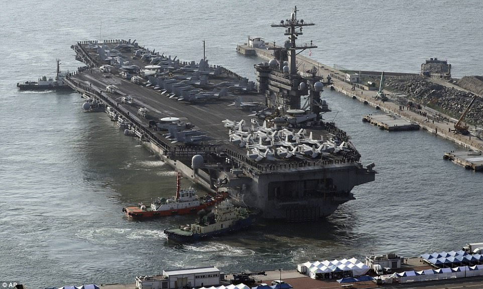 The USS Carl Vinson approaches Busan port in South Korea to join the annual joint military exercise called Foal Eagle