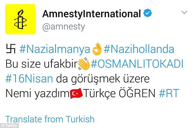 Several non-profit agencies including Amnesty International and UNICEF USA were also targeted by hackers. Messages were posted in Turkish on their accounts