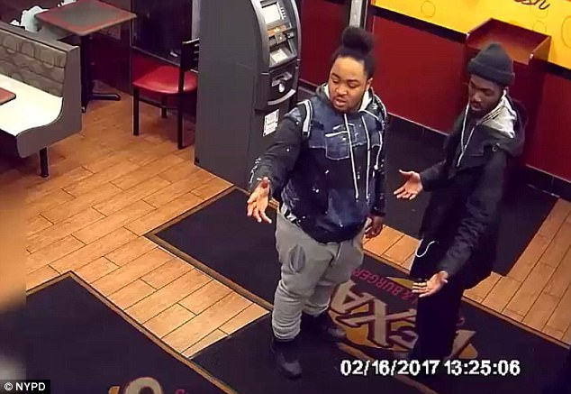 The 37-year-old offered to spot two men (pictured) when they didn't have enough money to pay for their meal at Texas Chicken and Burgers on Ocean Avenue